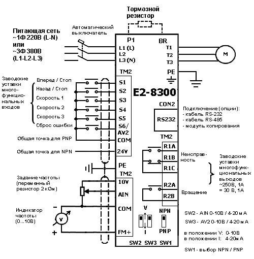 Схема подключения ПЧ ВЕСПЕР